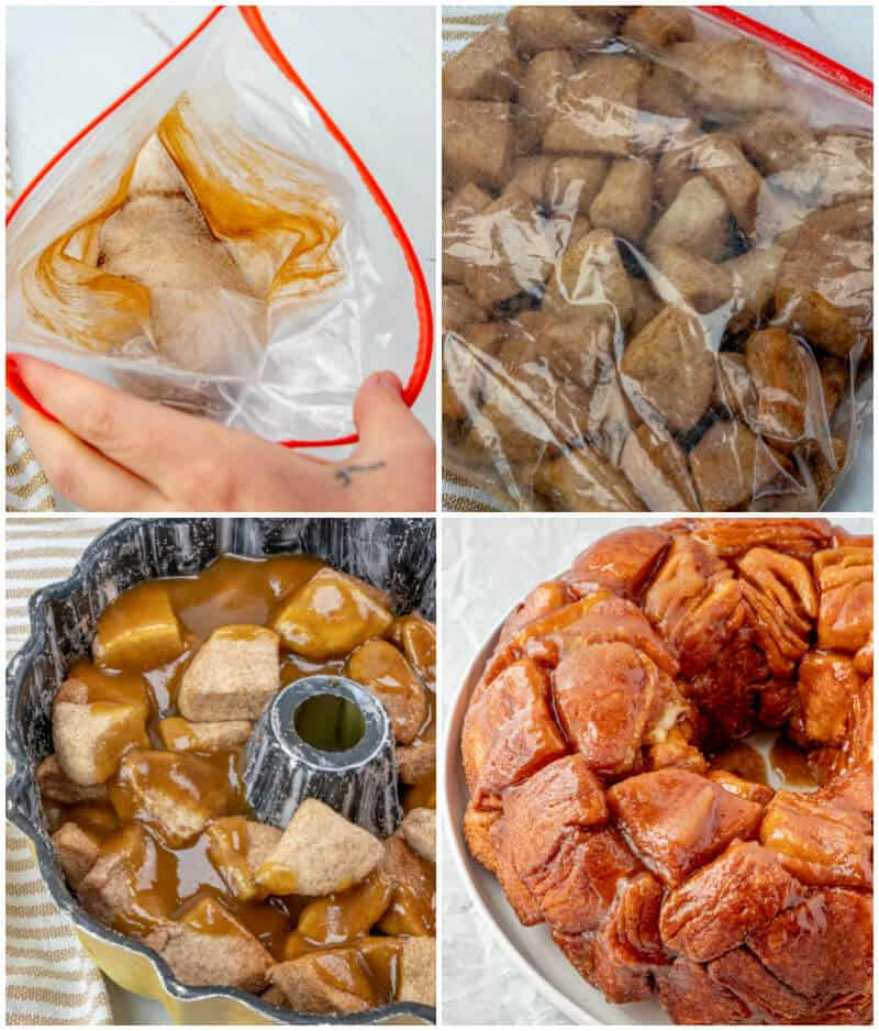 Step by step photos on how to make monkey bread