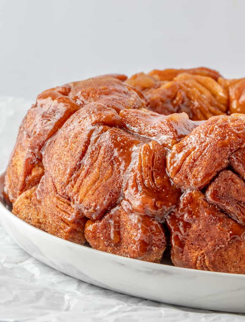 Finished Monkey Bread Plated on white serving platter