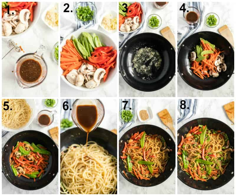 Step by step photos on how to make vegetable lo mein