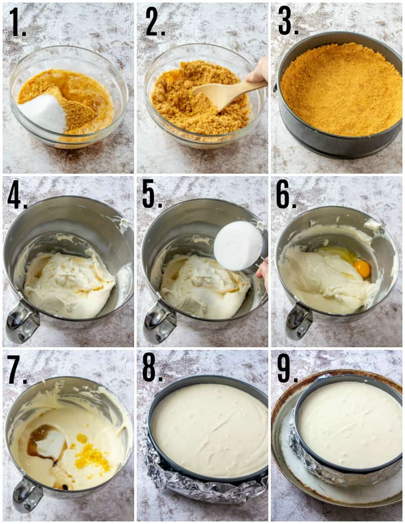 Step by step photos on how to make lemon cheesecake