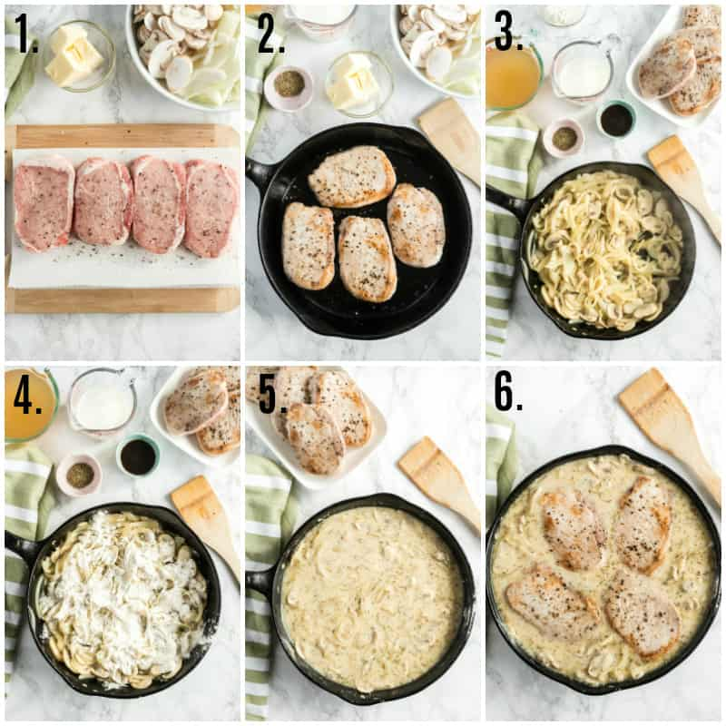 Step by step photos on how to make Smothered Pork Chops