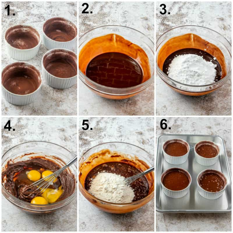 Step by step photos on how to make chocolate lava cake
