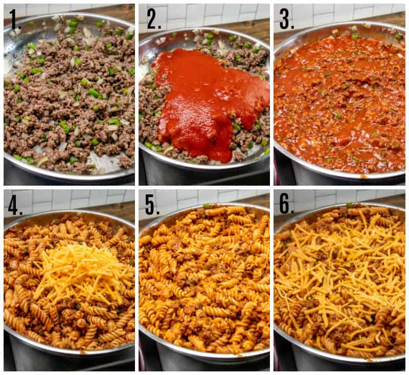 Step by step photos on how to make Sloppy Joe Casserole