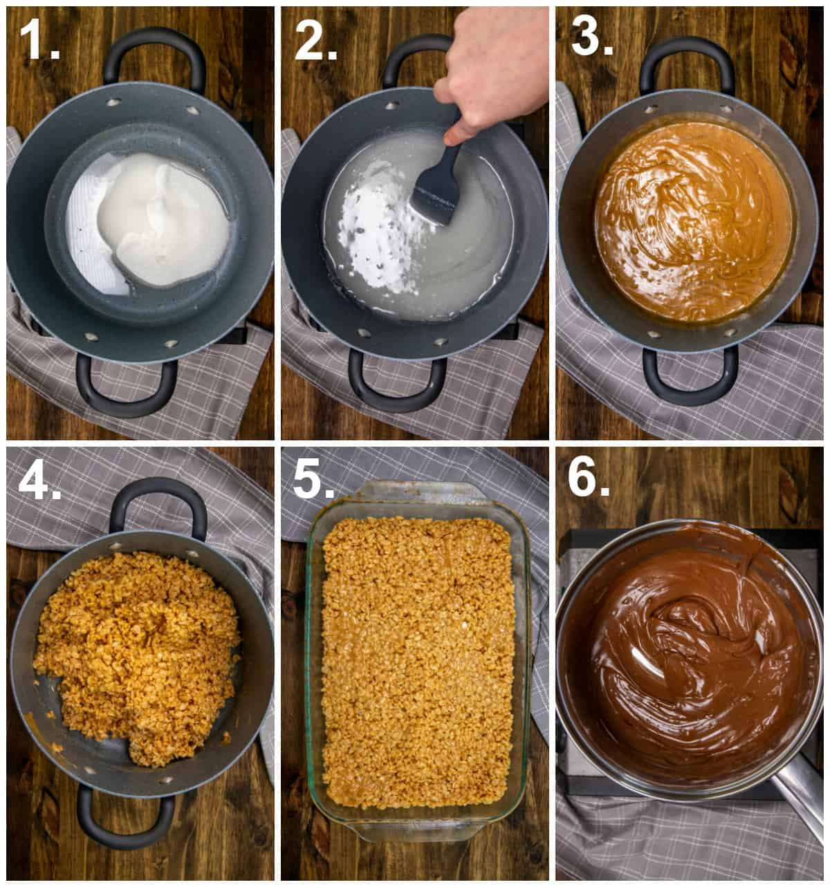 Step by step photos on how to make Scotcheroos
