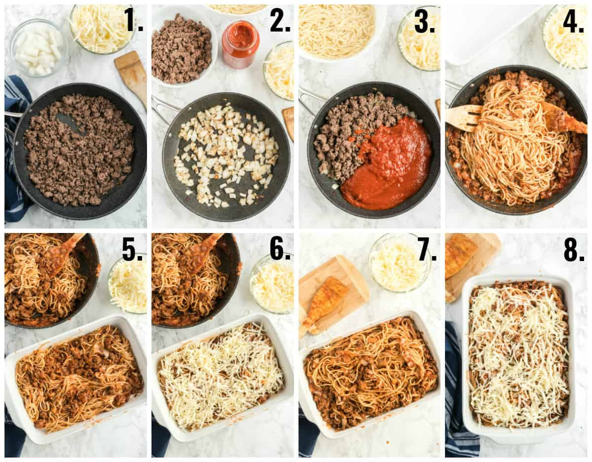 Step by step photos on how to make spaghetti casserole