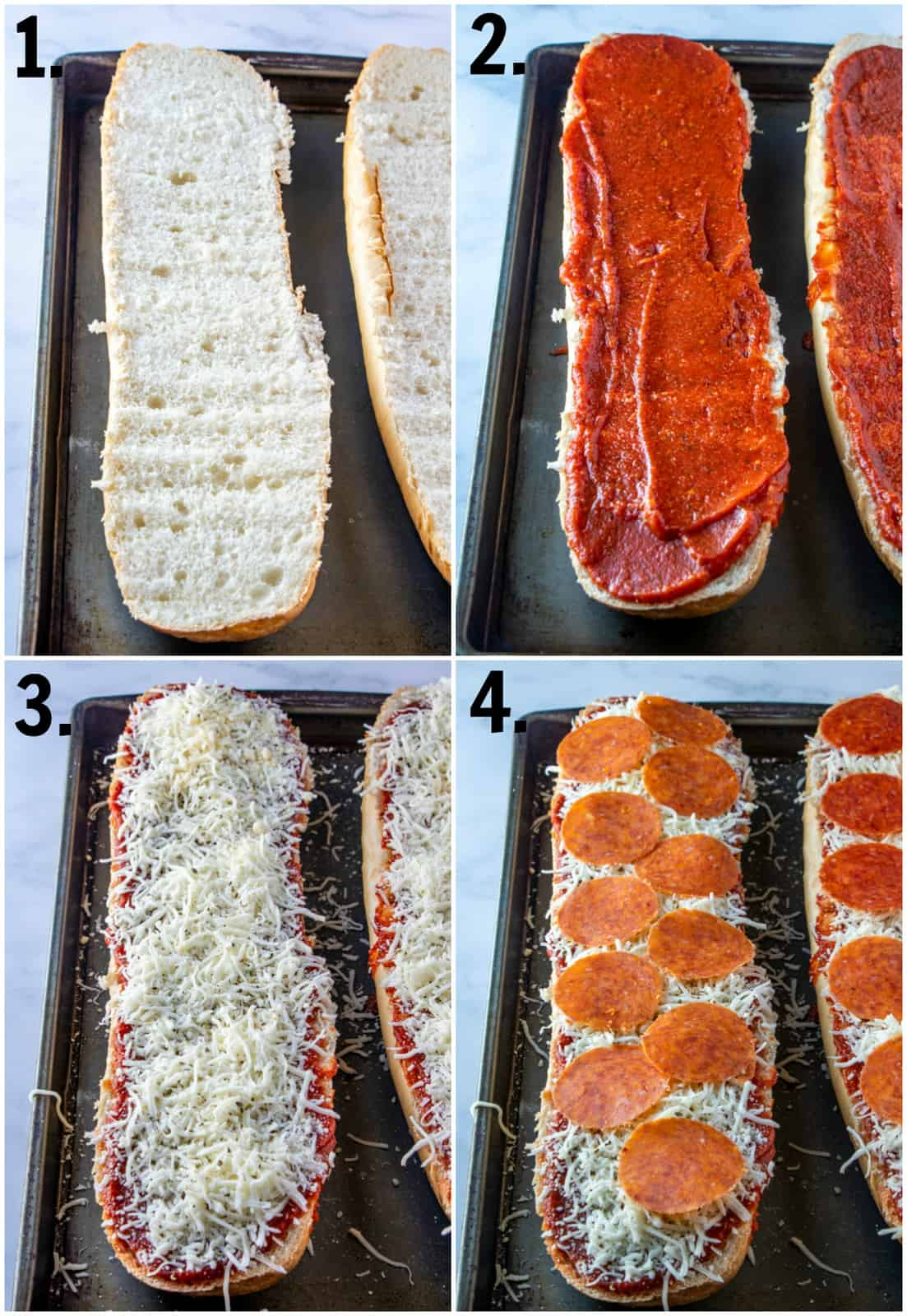 Step by step photos on how to make French Bread Pizza