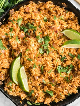 square photo of easy Spanish rice in pan