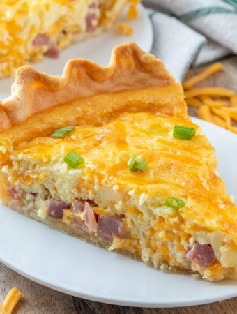 square image of ham and cheese quick topped with sliced green onion