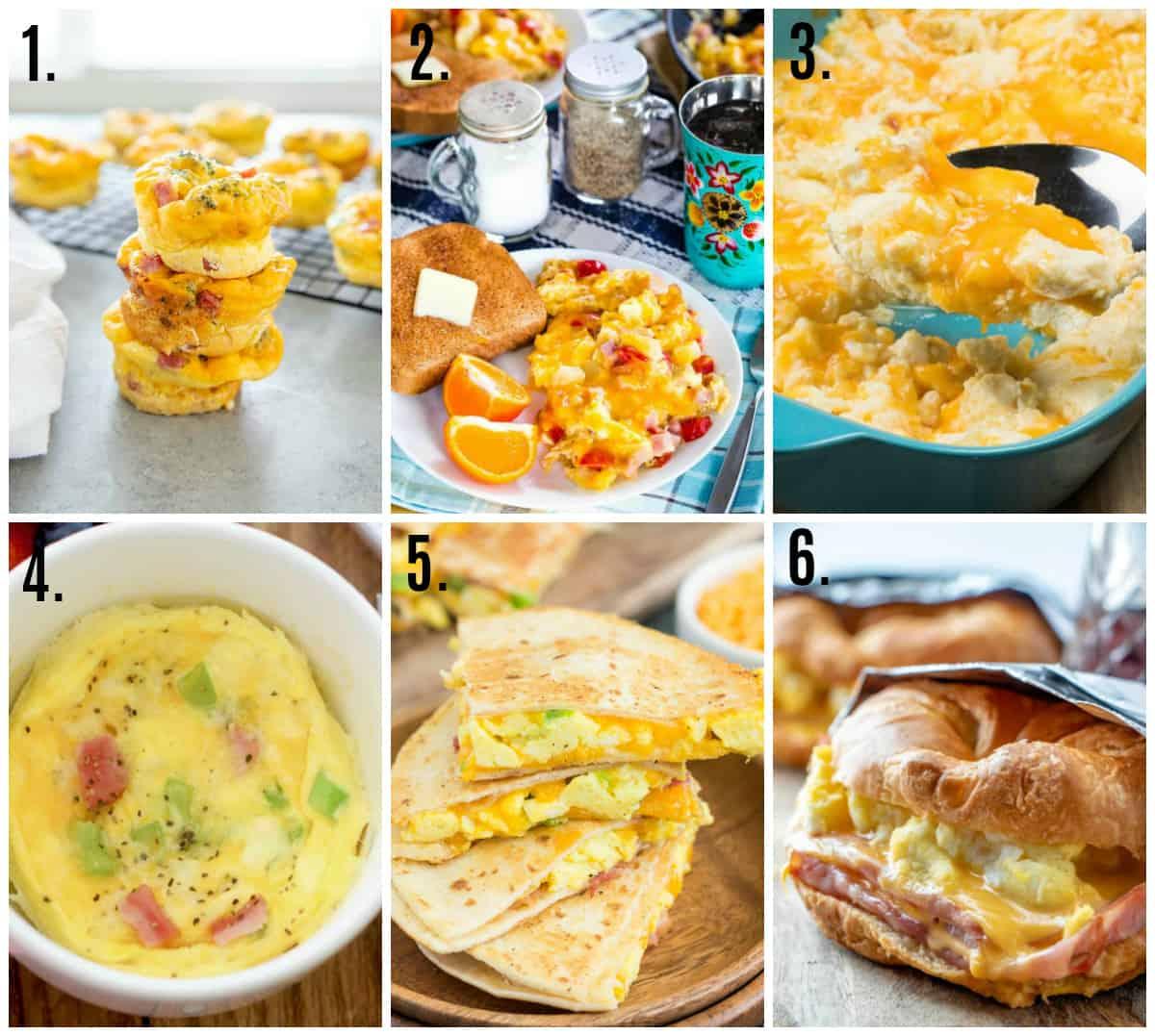 Collage photos of easy egg recipes