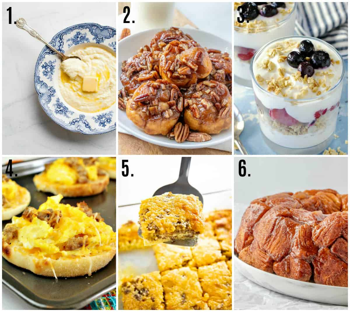 Collage photo of minimal ingredient breakfast recipes