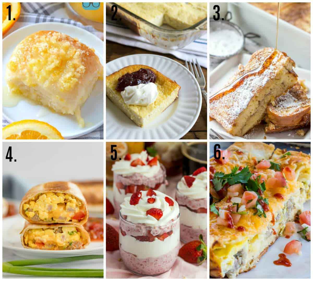 Collage photo of easy overnight breakfast recipes