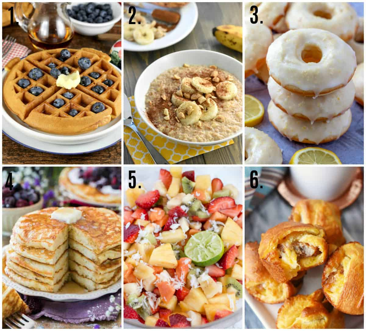 Collage photo of easy 20 minutes or less breakfast recipes