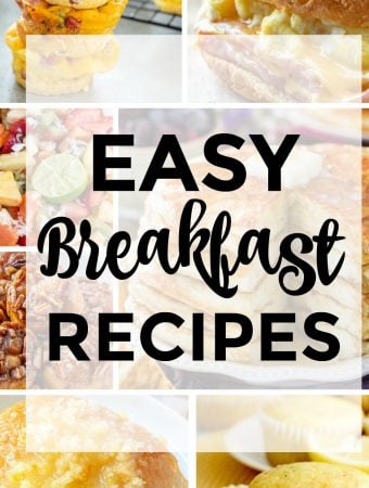 square photo of collage of easy breakfast recipes