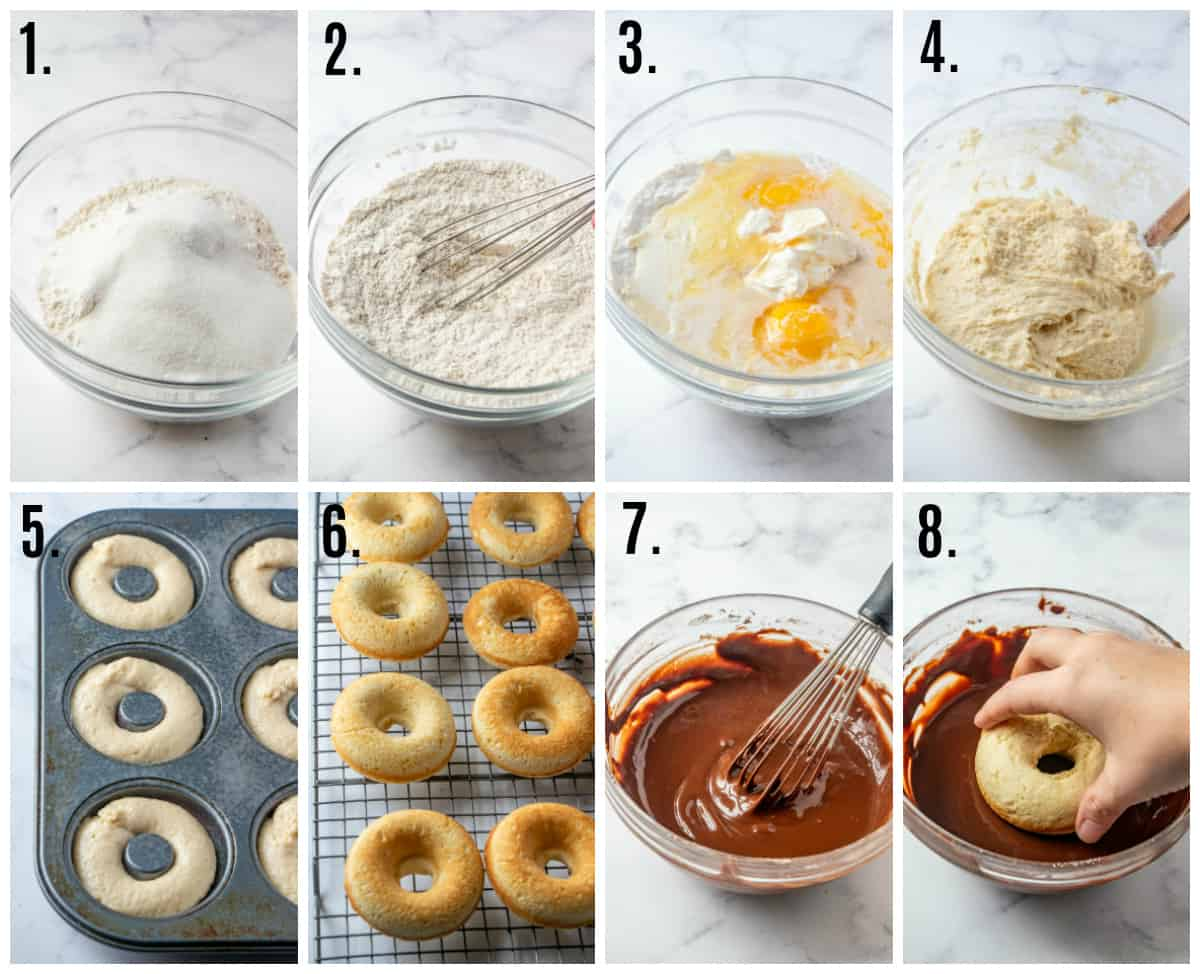 Step by step photos of how to make chocolate glazed donuts