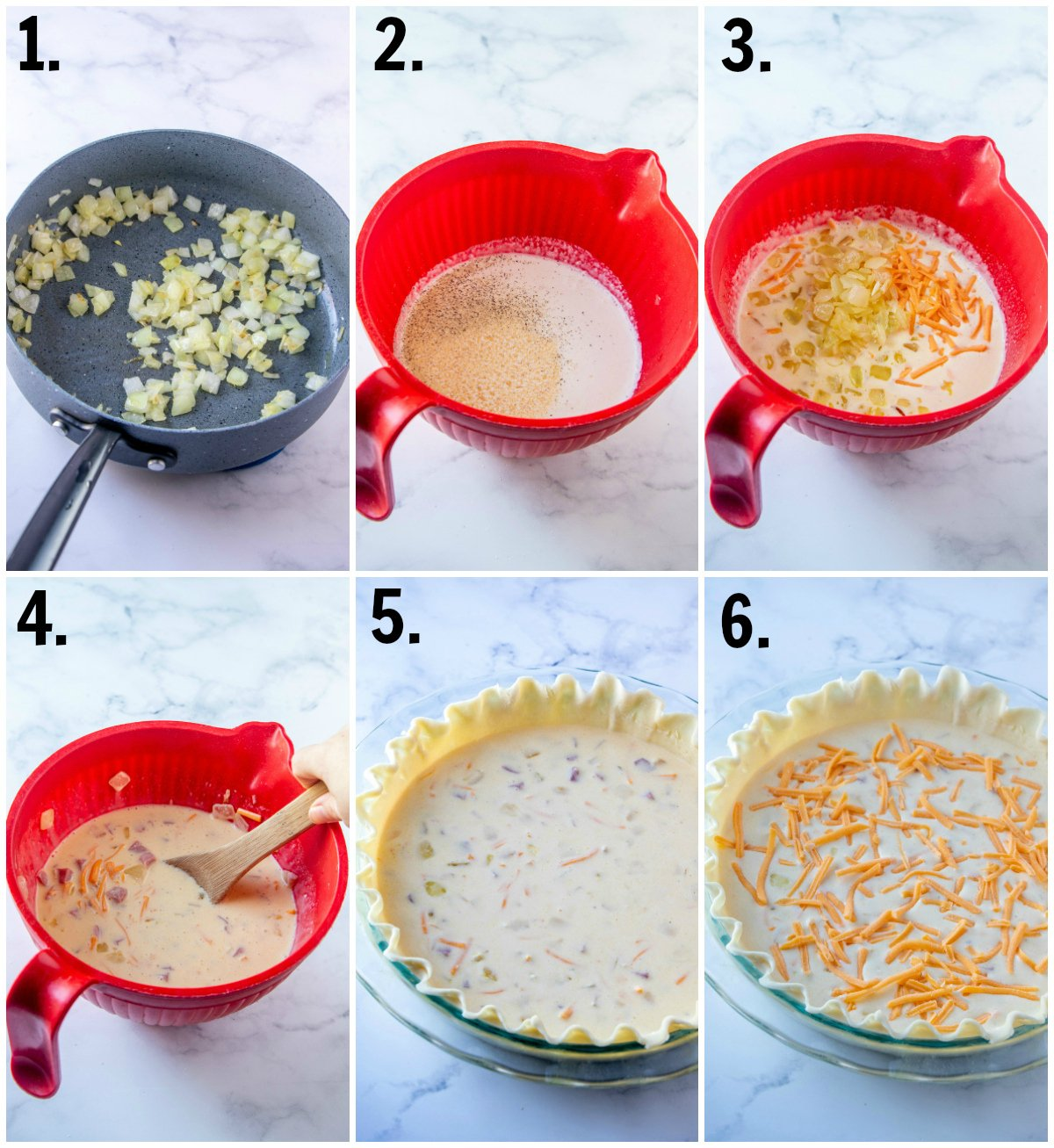 Step by step photos on how to make Ham and Cheese Quiche