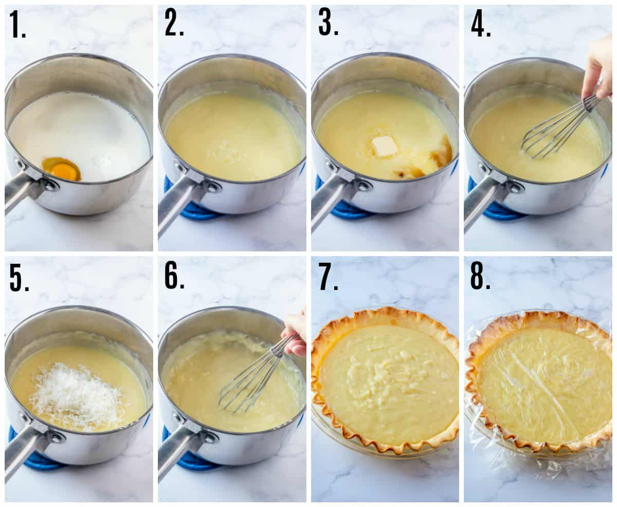 Step by step photos on how to make coconut cream pie