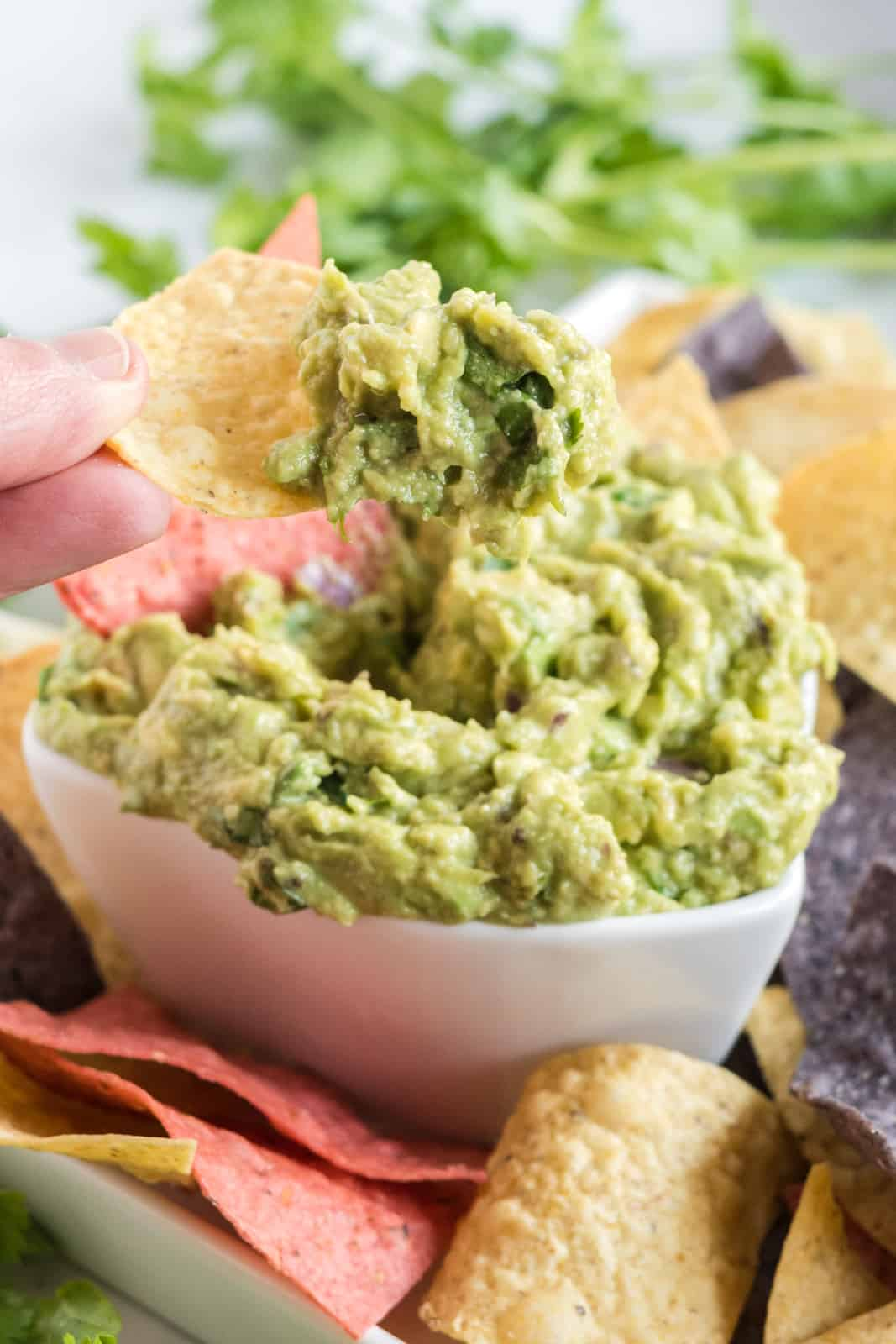Hand scooping some guacamole one chip