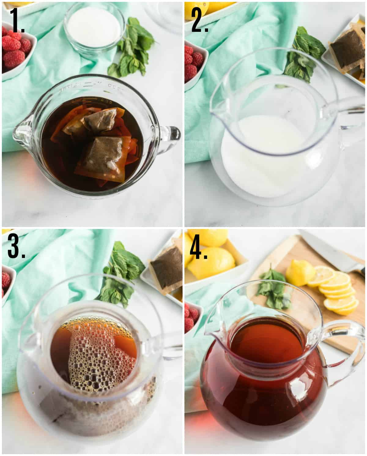 Step by step photos on how to make Sweet Tea