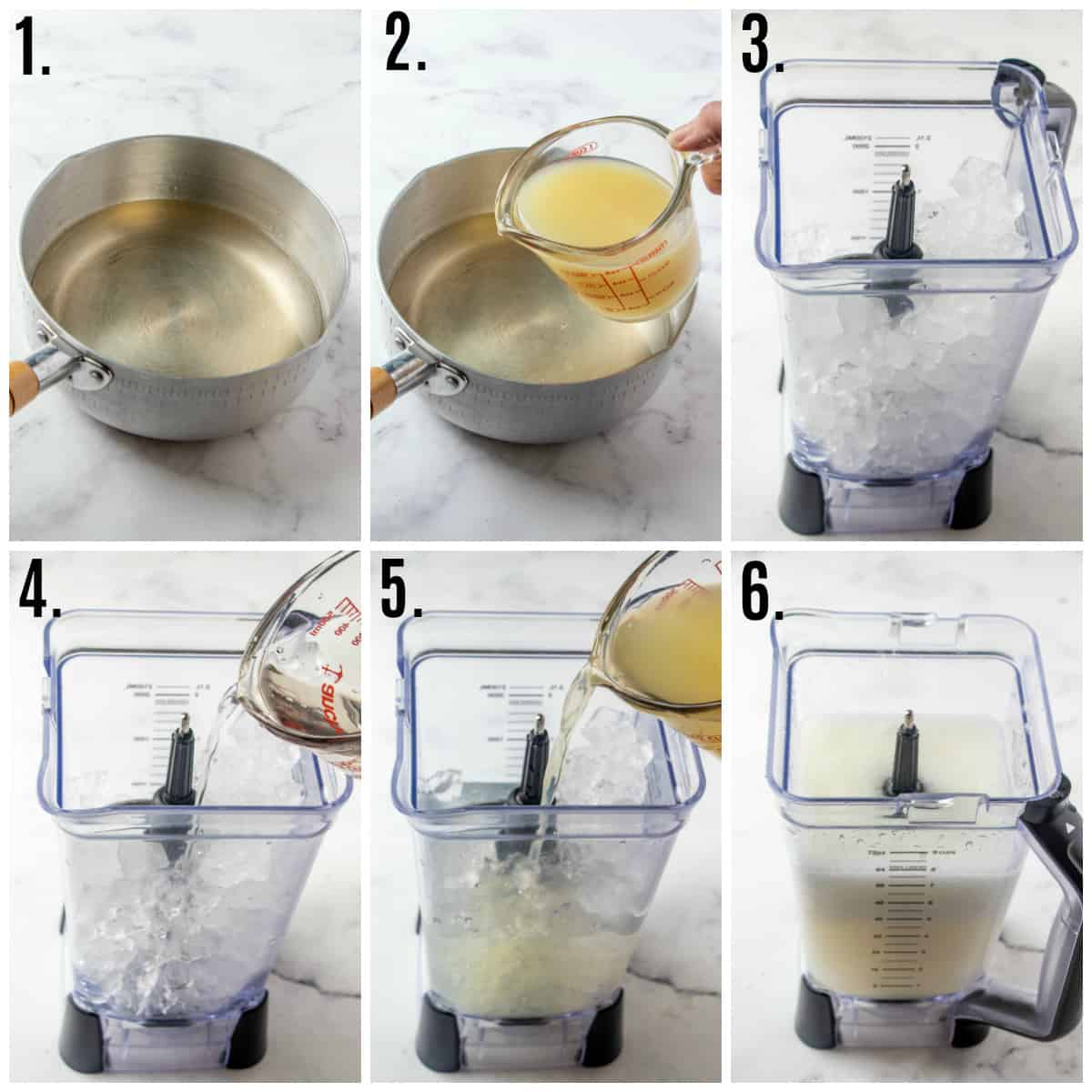 Step by step photos on how to make frozen lemonade