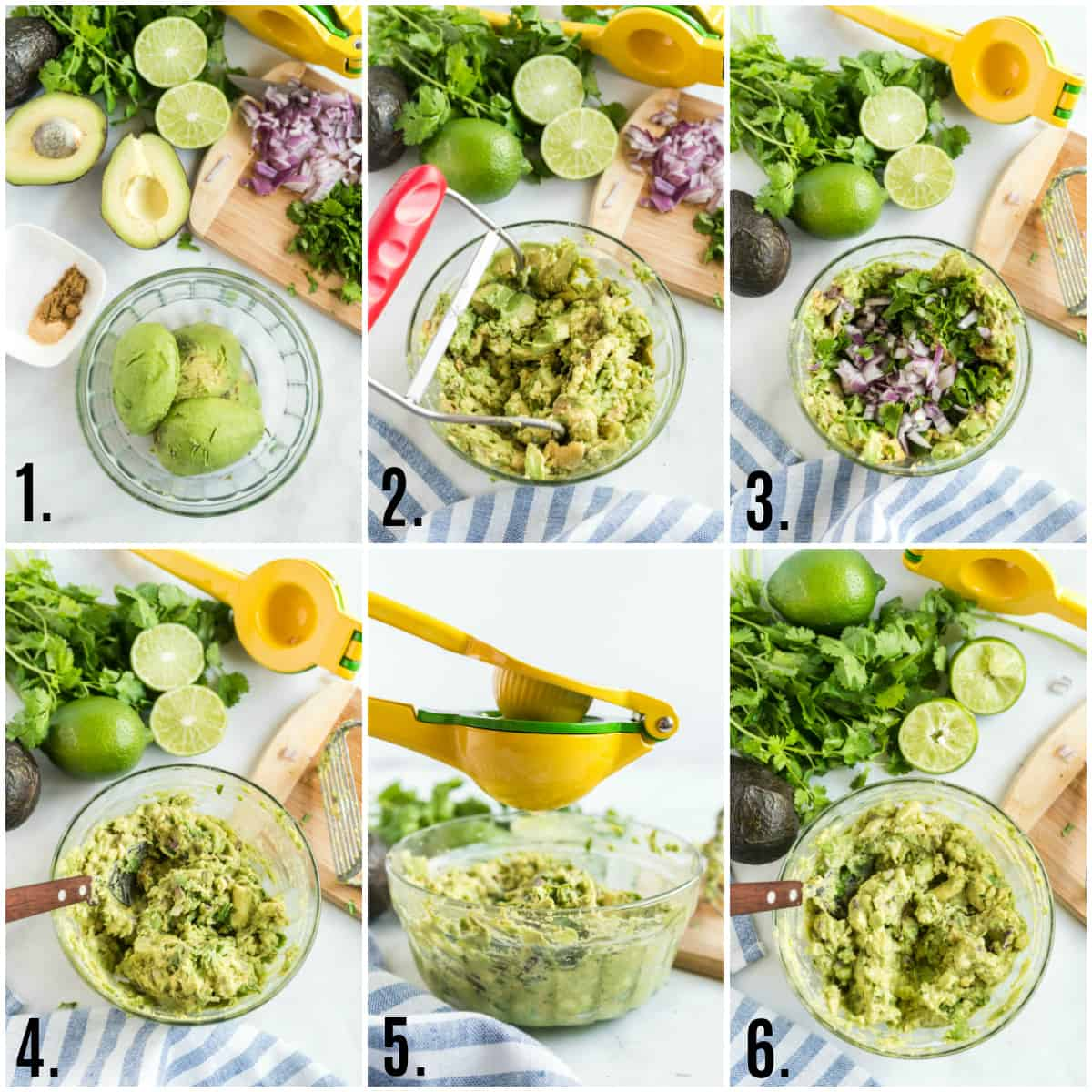 Step by step photos on how to make easy guacamole
