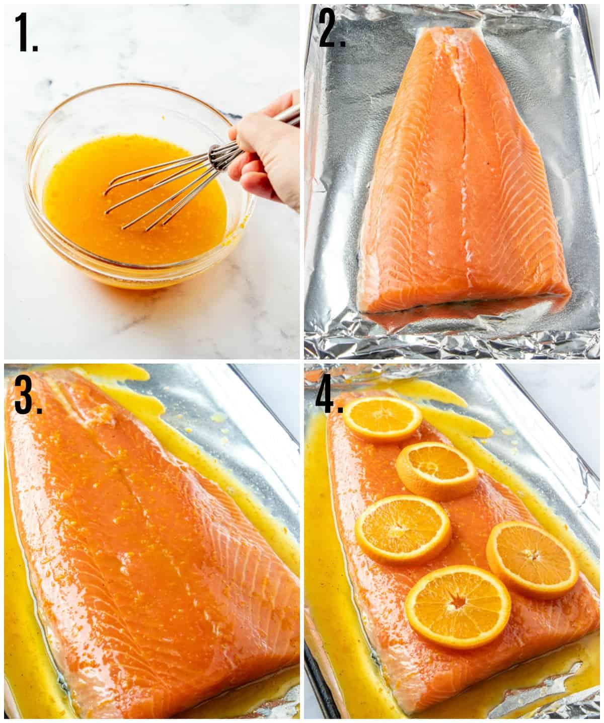 Step by step photos on how to make orange glazed salmon