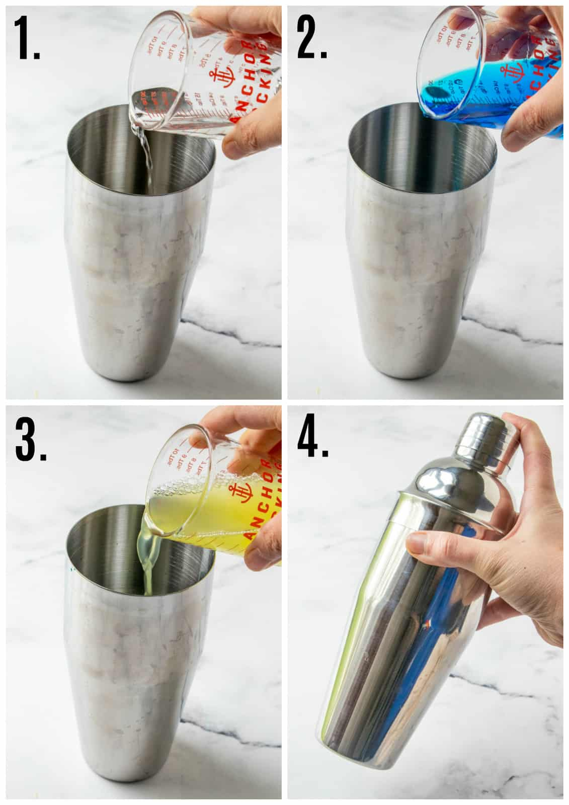 Step by step photos on how to make a Blue Hawaiian Cocktail