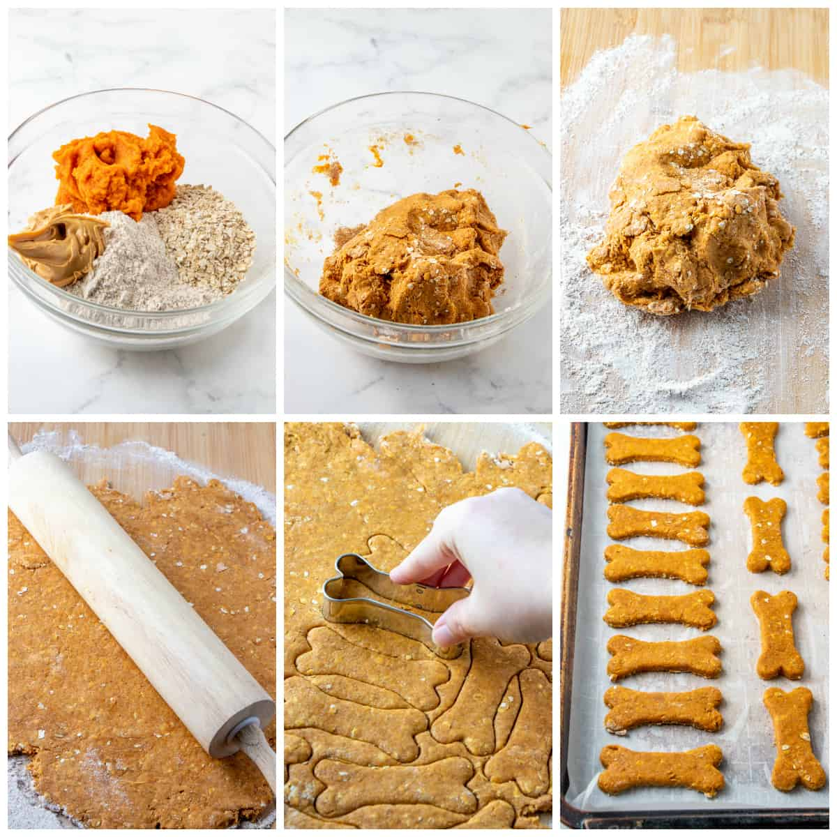 Step by step photos on how to make homemade dog treats