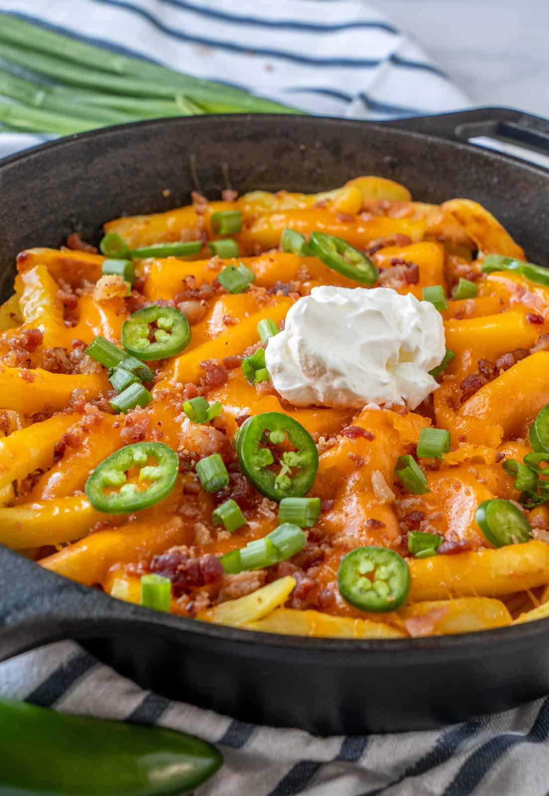 Loaded fries in cast iron skillet with toppings