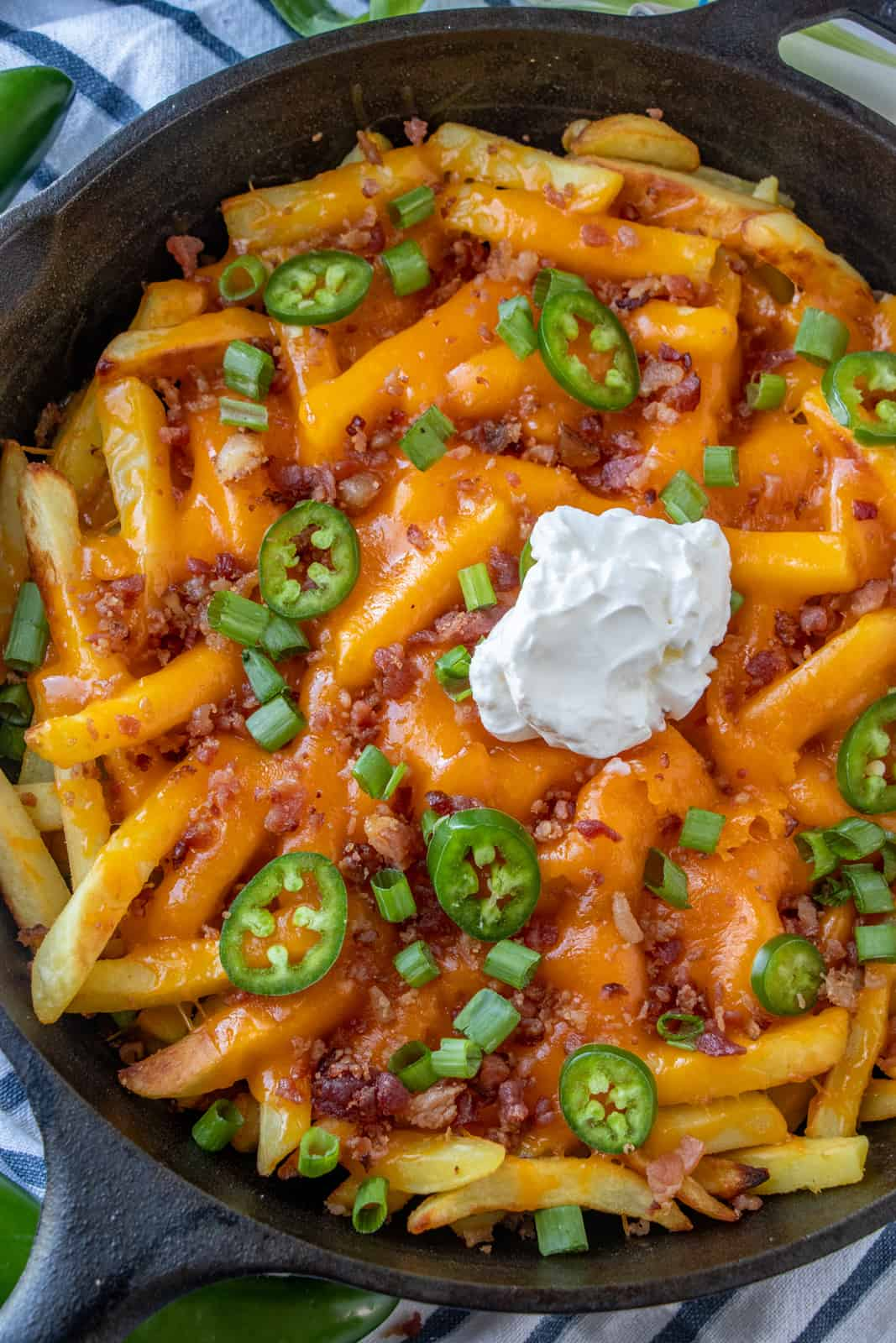 Overhead photo of Loaded Fries showing melted cheese and toppings