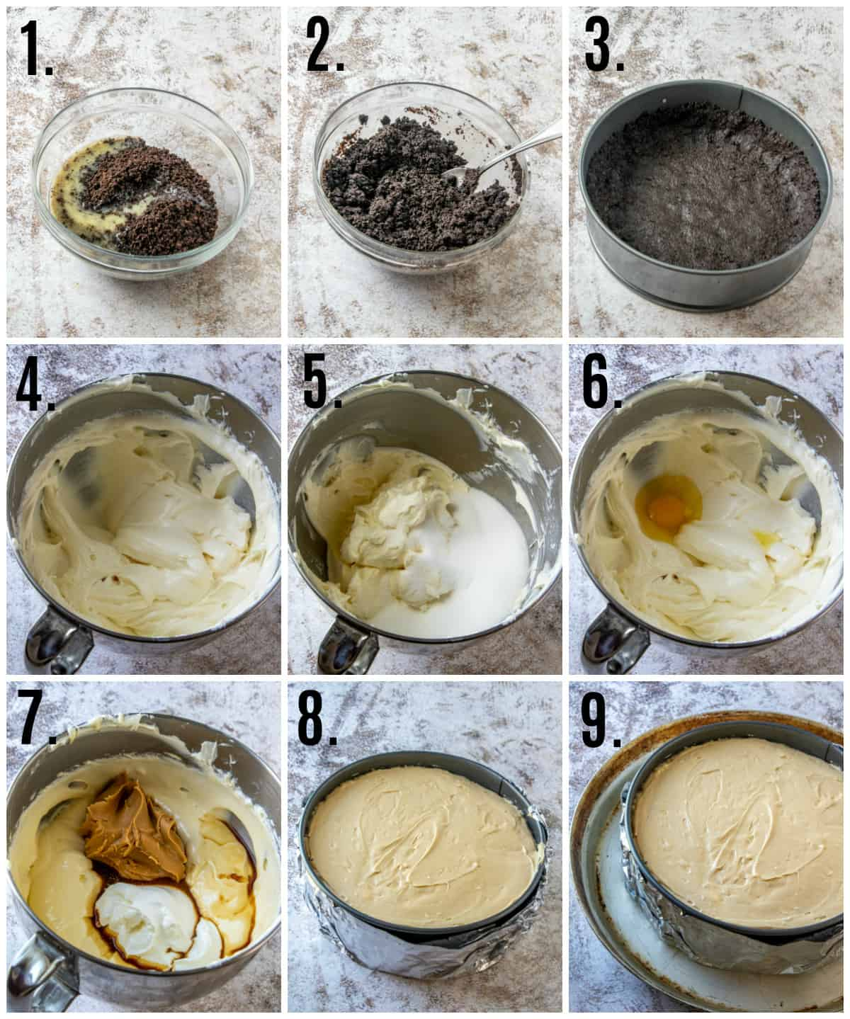 Step by step photos on how to make Peanut Butter Cheesecake