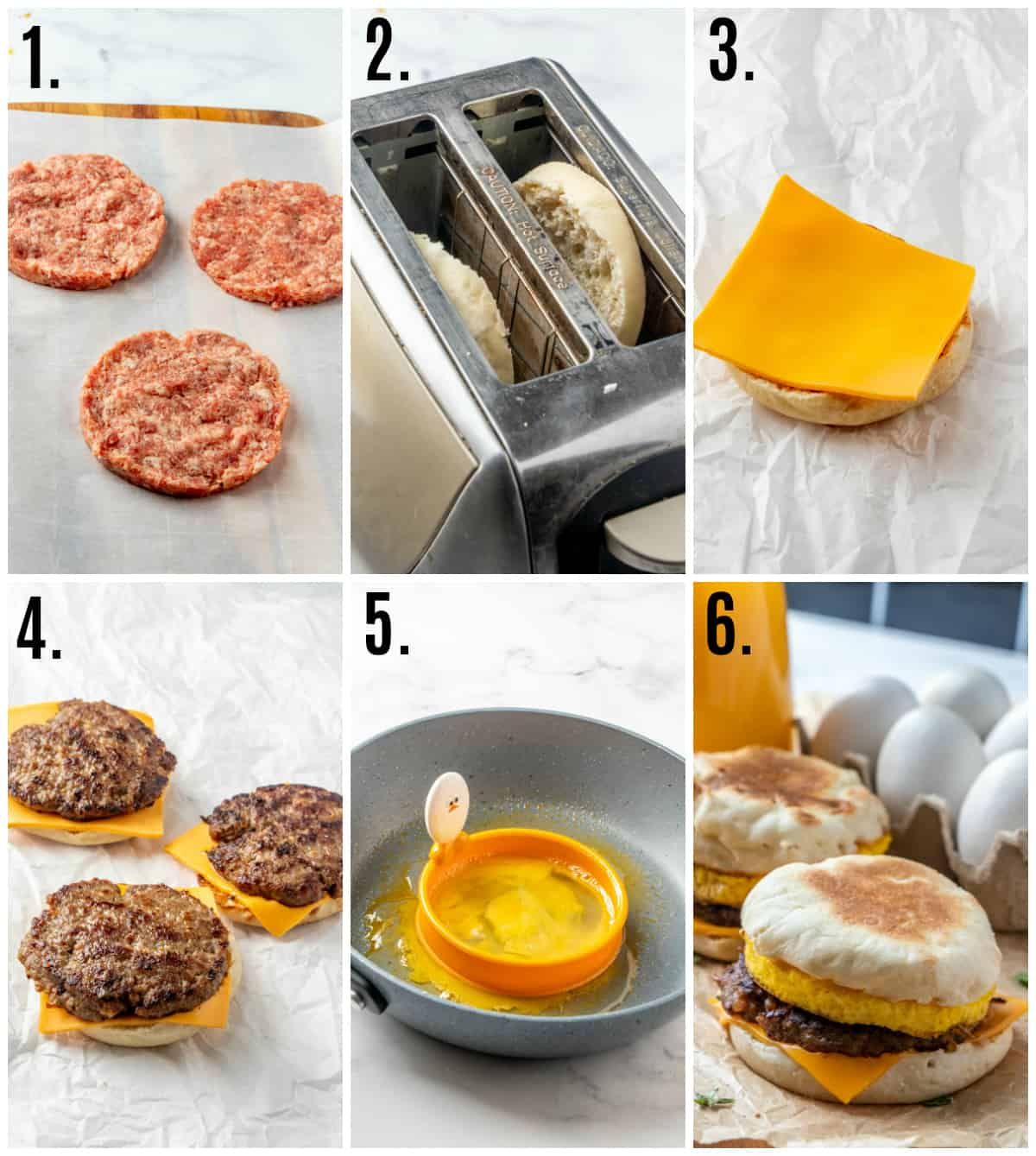 Step by step photos on how to make Sausage Egg McMuffins