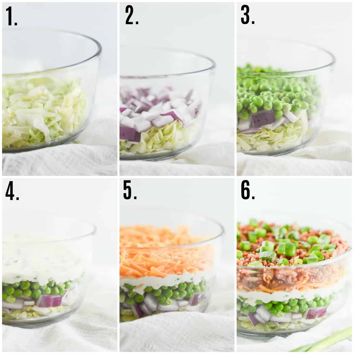 Step by step photos on how to make Seven Layer Salad