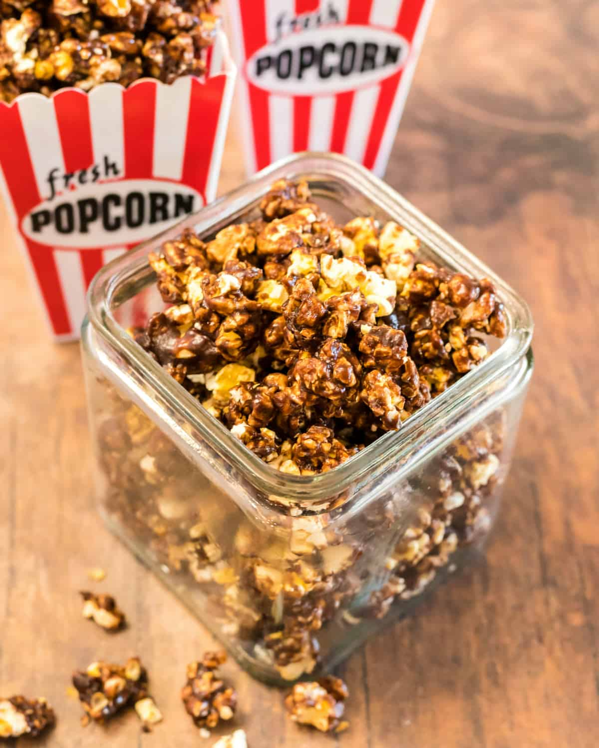 Chocolate Popcorn in container