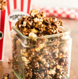Close up of Chocolate Popcorn in container
