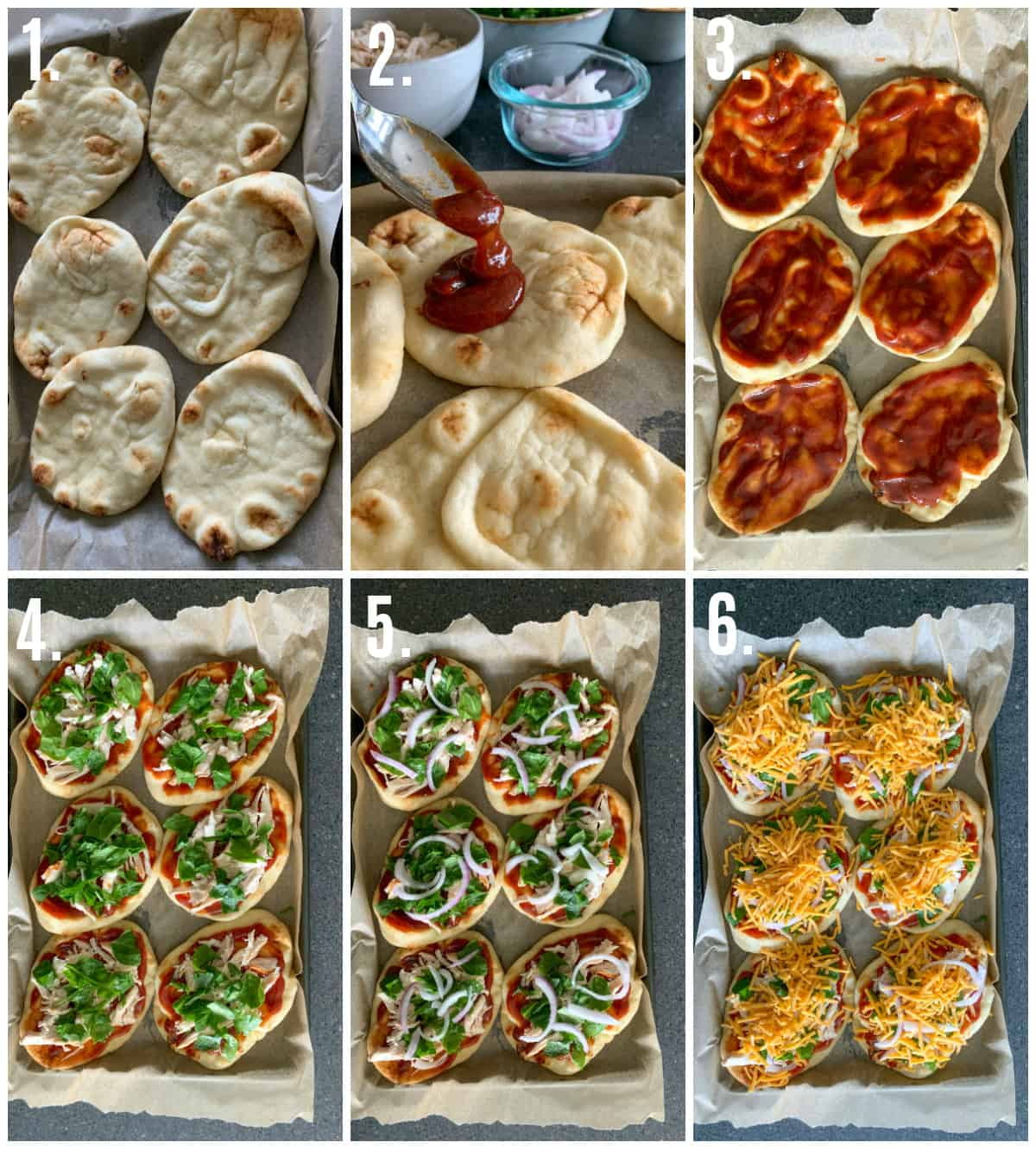 Step by step photos on how to make Naan Pizza