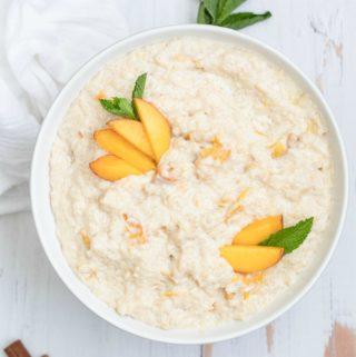 Square Peach Rice Pudding overhead in bowl