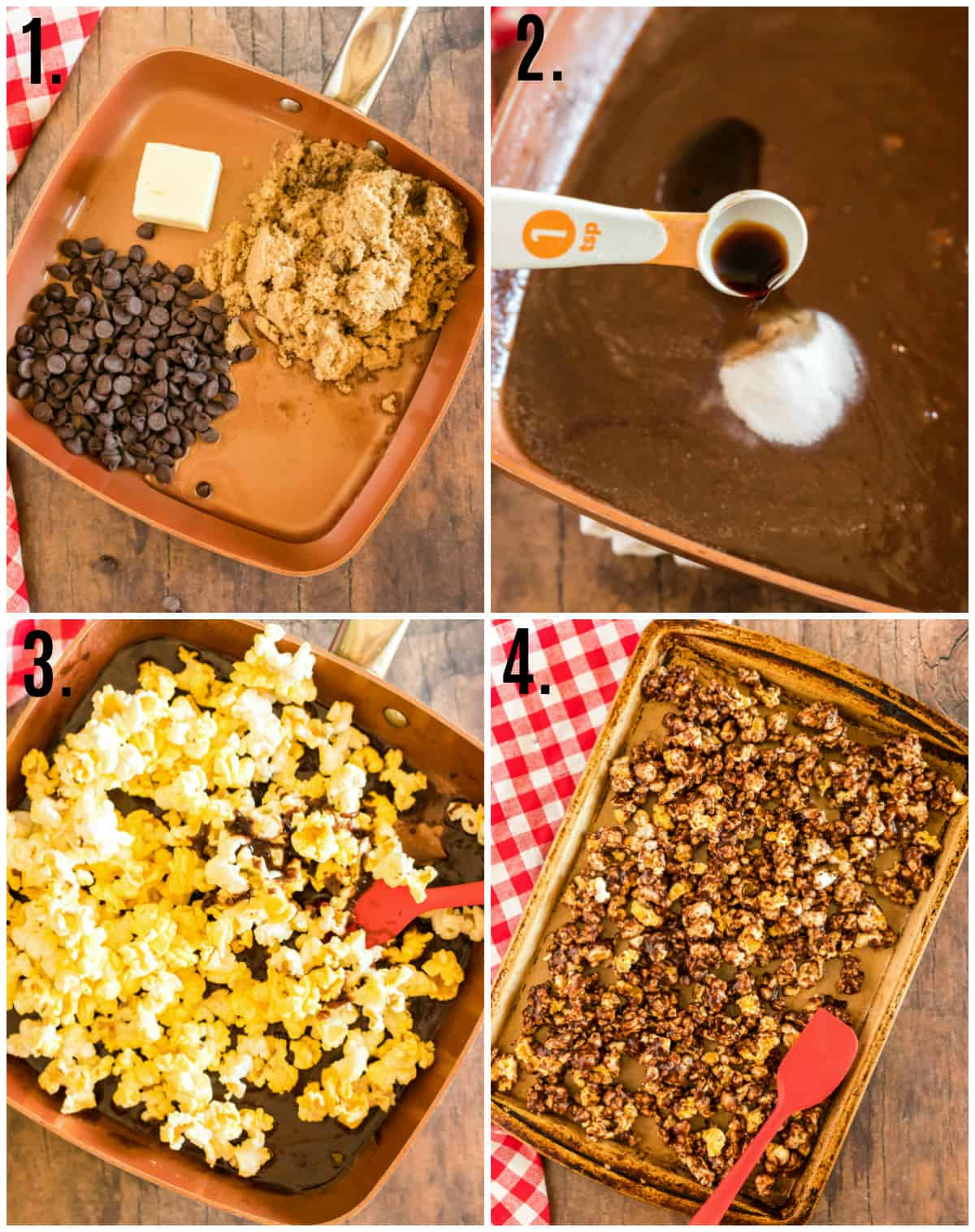 Step by step photos on how to make Chocolate Popcorn