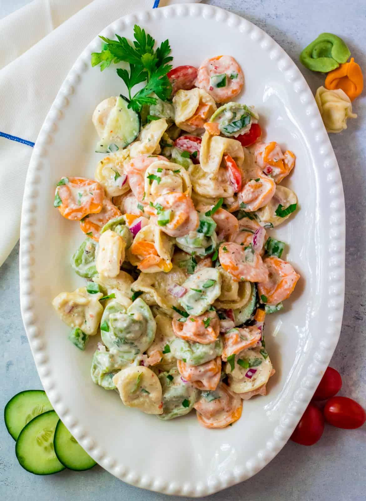 Overhead of salad on platter