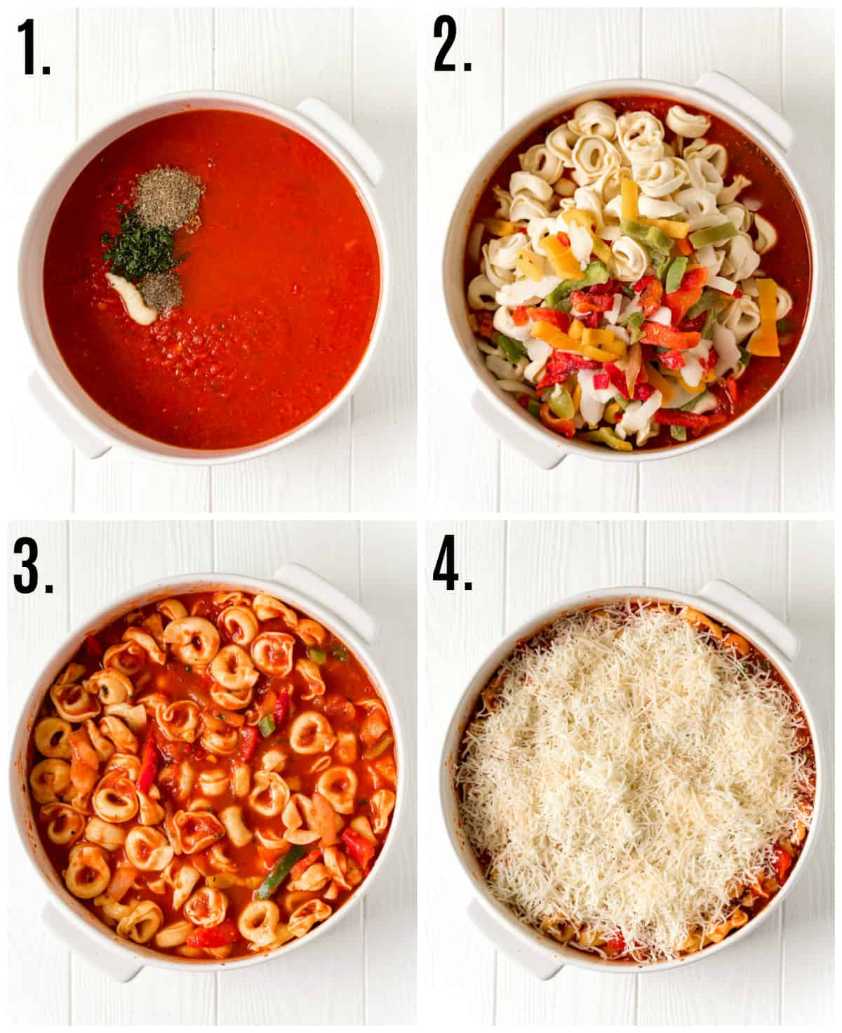 Step by step photos on how to make Baked Tortellini