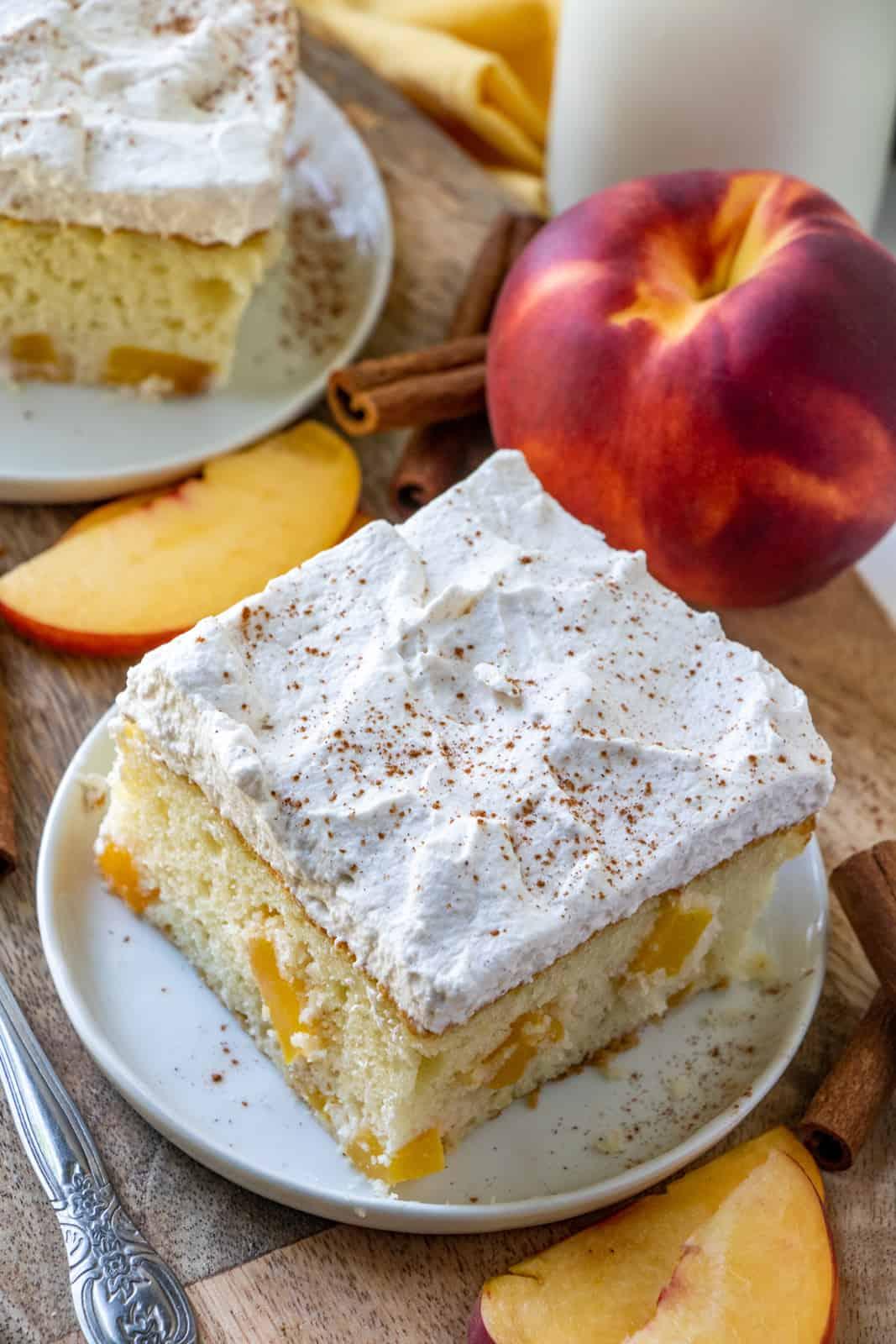 Overhead photo of Peach Cake with cinnamon