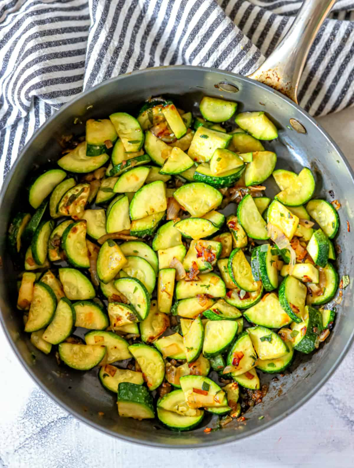 Overhead of pan with Easy Sautéed Zucchini