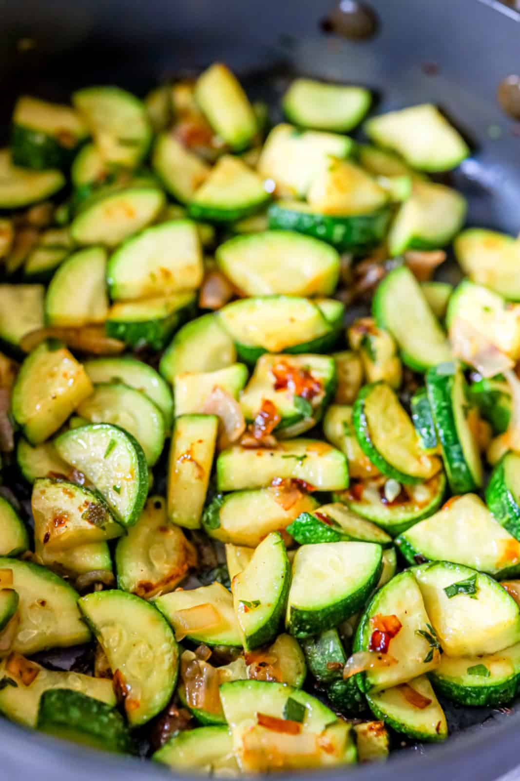 Close up of Zucchini in pan