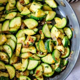 Overhead of zucchini in pan