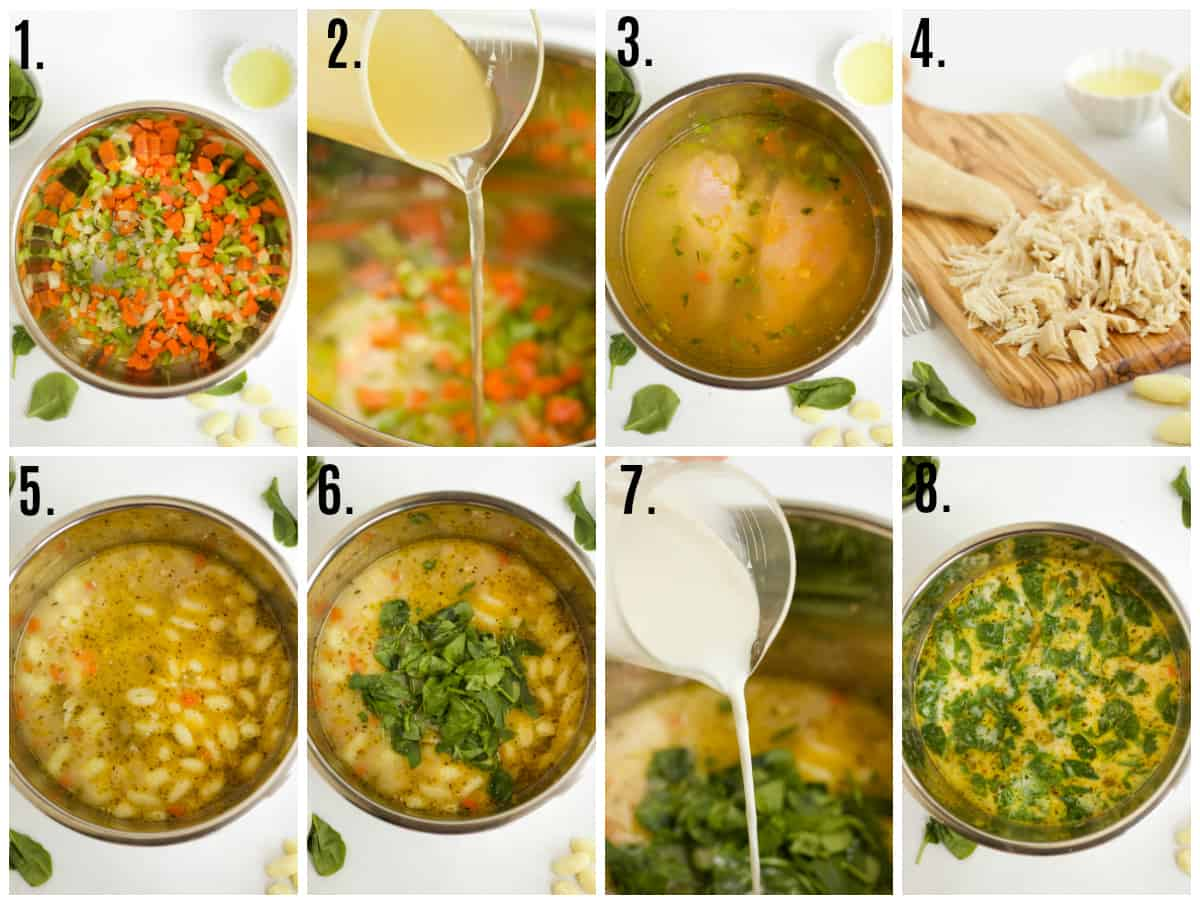 Step by step photos on how to make chicken gnocchi soup