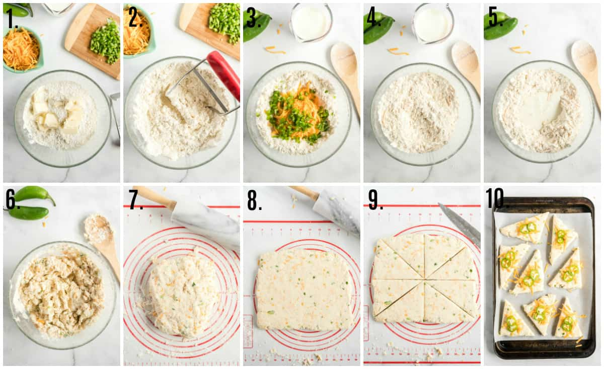 Step by step photos on how to make Jalapeno Cheese Scones