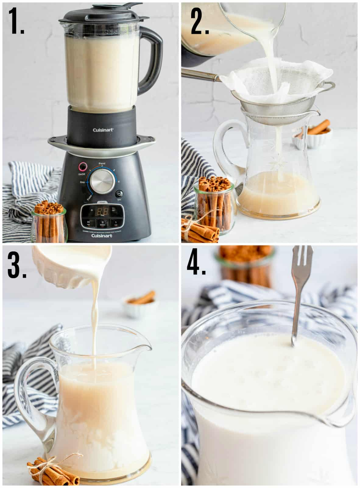 Step by step photos on how to make Horchata