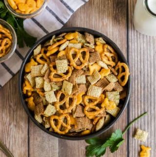Overhead of Chex Mix in black bowl