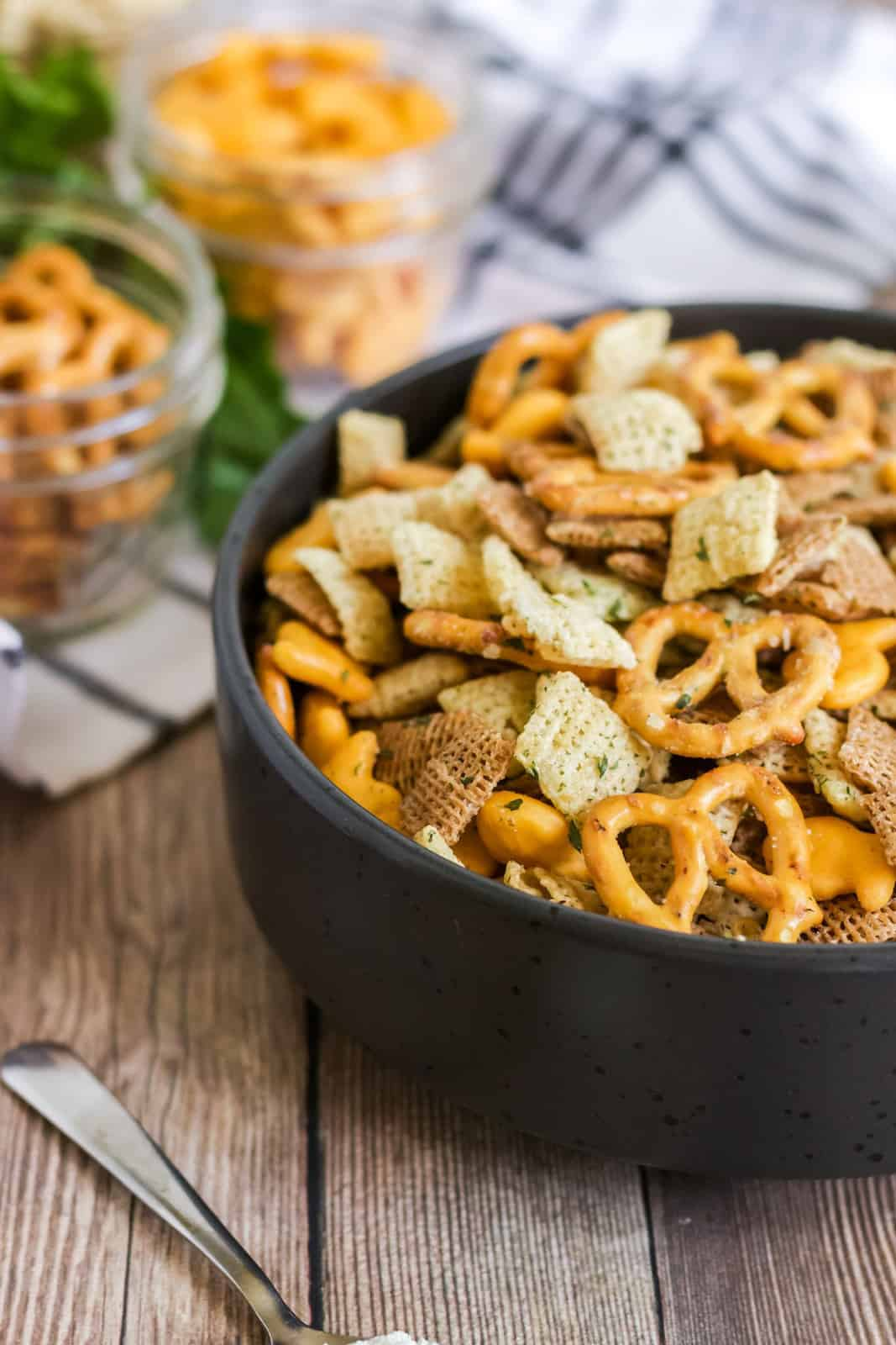 Side of Chex mix in bowl