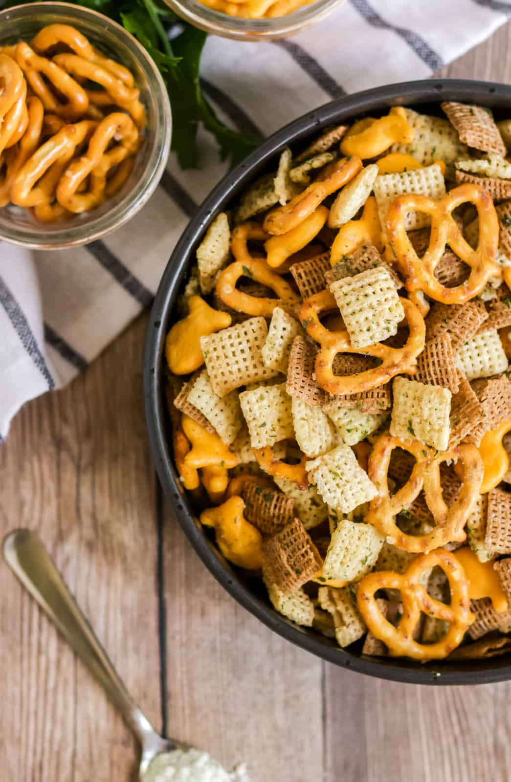 Overhead side view of Chex mix in bowl