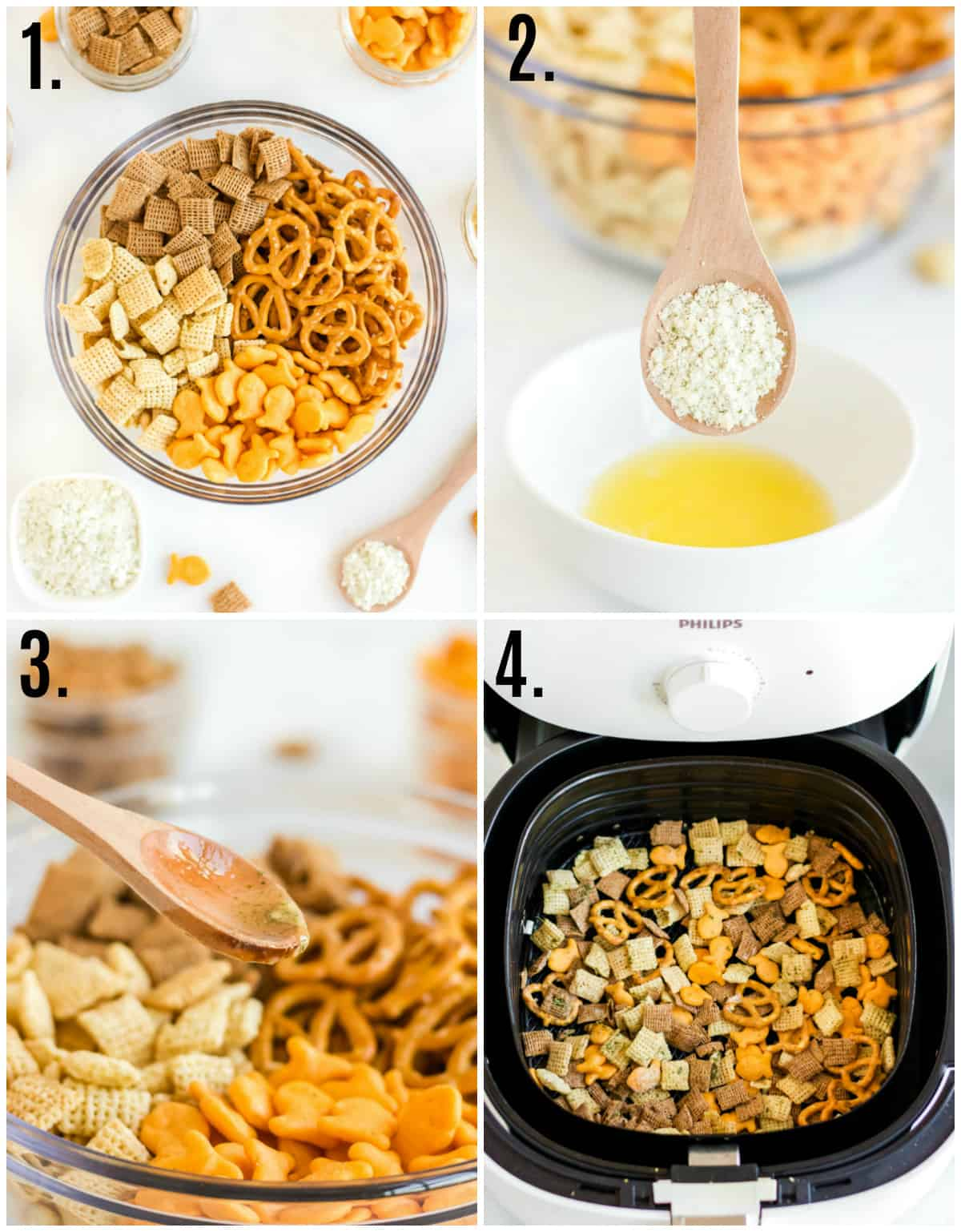 Step by step photos on how to make Chex mix